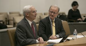 Former Supreme Court Justice Christopher Dietzen, a Sentencing Guidelines Commission member, speaks to Senate Judiciary members on March 11. Sen. Warren Limmer, R-Maple Grove, is also pictured. (Staff photo: Kevin Featherly)