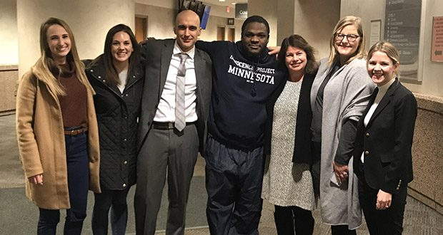 Celebrating Jayvon Davis's release from prison are, from left, Rachael Melby, Emily Luxem, Innocence Project attorney Jim Mayer, Javon Davis, legal director Julie Jonas, Sara Jones and Brandy Hough. (Submitted photo)