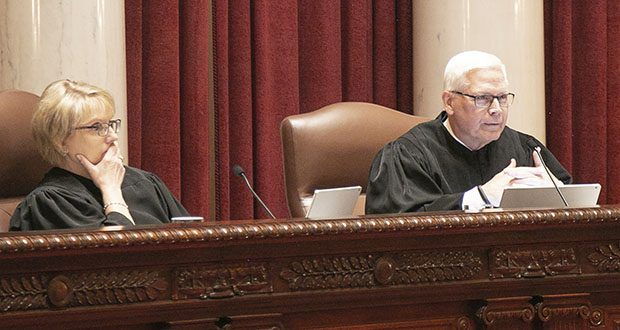 State Supreme Court Associate Justice David Lillehaug, right, wrote a 5-2 majority opinion Wednesday siding with Secretary of State Steve Simon in a legal battle over voter-data access. Chief Justice Lorie Gildea, left, wrote the dissenting opinion. (Staff photo: Kevin Featherly)