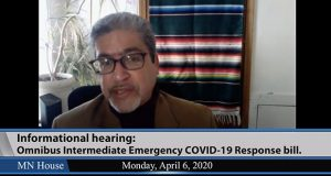 Rep. Carlos Mariani, DFL-St. Paul, the House Public Safety chair, directs traffic during a remote video hearing Monday. The committee heard, but did not vote on, a 12-page public safety COVID-19 response bill. (Screen grab courtesy House Public Information Services)