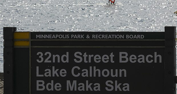 A windsurfer glides on the surface of Bde Maka Ska (formerly Lake Calhoun) in Minneapolis on May 2, 2017. (AP file photo: Star Tribune)