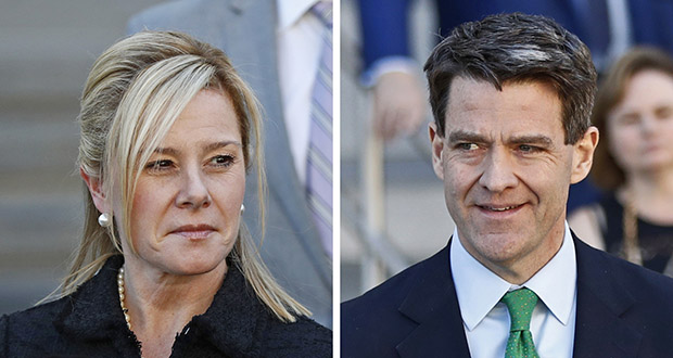 This combination of March 29, 2017, photos shows Bridget Kelly, left, and Bill Baroni after sentencing in Newark, N.J. (AP file photo)
