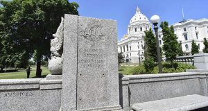 The pedestal that held a statue of explorer Christopher Columbus is shown June 12 in St. Paul with the Minnesota State Capitol in the background. The statue, which stood in place for decades, was pulled down by protesters. (AP photo: Jim Mone)