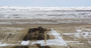 This March 11 file photo provided by the Bureau of Land Management shows the proposed route of the Keystone XL oil pipeline where it crosses into the United States from Canada in Phillips County, Montana. (Bureau of Land Management via AP)