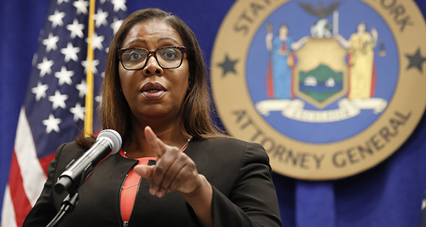 New York State Attorney General Letitia James takes a question Thursday after announcing that the state is suing the National Rifle Association. (AP photo)