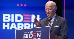 Democratic presidential nominee Joe Biden speaks Wednesday in Wilmington, Delaware. Biden generated headlines in February with a debate-stage promise to name the first Black female Supreme Court justice if he wins the White House. (AP photo: Patrick Semansky)