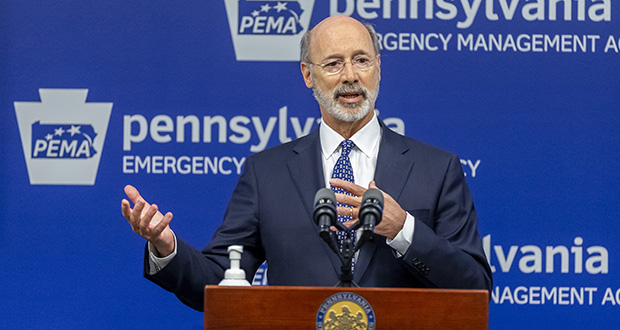 Pennsylvania Gov. Tom Wolf meets with the media May 29 at the Pennsylvania Emergency Management Agency headquarters in Harrisburg, Pennsylvania. (File photo: The Patriot-News via AP)