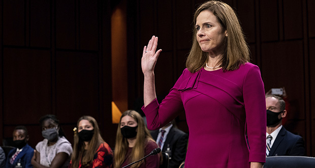 Supreme Court nominee Amy Coney Barrett is sworn in during her Senate Judiciary Committee confirmation hearing on Capitol Hill in Washington, Monday, Oct. 12, 2020. (The New York Times via AP, Pool)