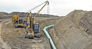 This 2016  file photo shows heavy equipment is at a site where sections of the Dakota Access pipeline were being buried near the town of St. Anthony in Morton County, North Dakota. (AP file photo: The Bismarck Tribune)