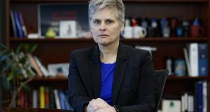 The Minnesota Board of Public Defense declined Wednesday to give Hennepin County public defender Mary Moriarty a four-year extension. This photo shows Moriarty in her office in October 2019. (AP photo: John Minchillo)