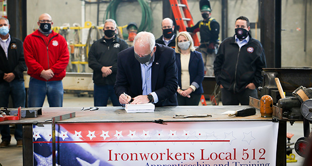 Gov. Tim Walz went to an Iron Workers Union training center in St. Paul on Wednesday to give his final approval to the bonding package the Legislature sent him last week. (Katie Clark Photography)