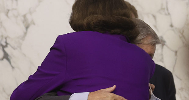 Liberals pounced when top Democrat Sen. Dianne Feinstein of California hugged the chairman, Sen. Lindsey Graham, R-S.C., as days of hearings closed Thursday, praising his handling of Judge Amy Coney Barrett's Supreme Court nomination process. They called for her immediate removal from leadership. (Jonathan Ernst/Pool via AP)