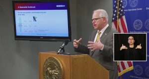 In this Nov. 10 photo, Gov. Tim Walz announced a series of new guidelines to combat COVID-19. (Photo courtesy of Office of the Governor)
