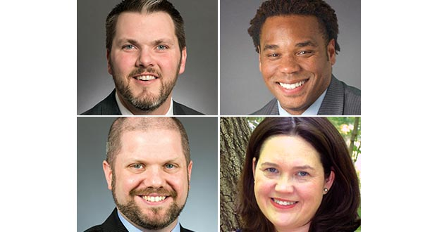 (Clockwise, from top left) Mark Johnson, attorney, GOP state senator; Corey Day, former state DFL executive director; Jennifer DeJournett, GOP party operative; Mike Freiberg, DFL House Government Operations chair