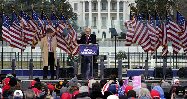 Former New York Mayor Rudolph Giuliani speaks Jan. 6 in Washington at a rally in support of President Donald Trump before rioters stormed the U.S. Capitol. (AP photo: Jacquelyn Martin)