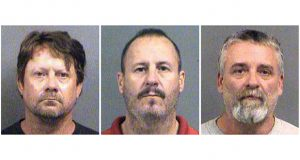 This combination of Oct. 14, 2016, booking photos shows from left, Patrick Stein, Curtis Allen and Gavin Wright, three members of a Kansas militia group who were convicted of plotting to bomb an apartment building filled with Somali immigrants in Garden City, Kansas. (Sedgwick County Sheriff's Office via AP)