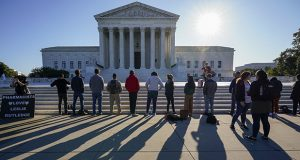 Anti-abortion activists demonstrate at the Supreme Court in Washington on Oct. 5, 2020. (AP file photo)