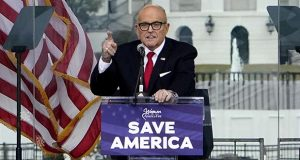 Former New York Mayor Rudolph Giuliani speaks Jan. 6 in Washington at a rally in support of President Donald Trump. (AP file photo)