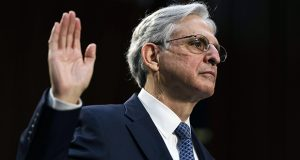 Judge Merrick Garland, nominee to be attorney general, testifies at his confirmation hearing before the Senate Judicary Committee on Monday on Capitol Hill in Washington. (Demetrius Freeman/The Washington Post via AP, Pool)