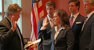 U.S. District Court Chief Judge John Tunheim administered the oath to Erica MacDonald in 2018 as she became the U.S. attorney for Minnesota. (Submitted photo)