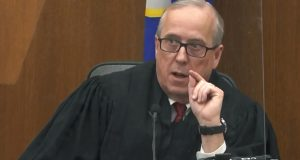 In this image taken from video, Hennepin County Judge Peter Cahill presides over pre-trial motions Monday in the trial of former Minneapolis police officer Derek Chauvin. (Court TV/Pool via AP)