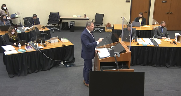 In this image from video, prosecutor Steve Schleicher speaks as Hennepin County Judge Peter Cahill presides over jury selection Friday, March 19, in the trial of former Minneapolis police officer Derek Chauvin at the Hennepin County Courthouse in Minneapolis. Chauvin is charged in the May 25, 2020, death of George Floyd. (Court TV via AP, Pool)