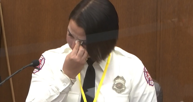 In this image from video, Minneapolis firefighter Genevieve Hansen wipes her eyes as she testifies Tuesday in the trial of former Minneapolis police Officer Derek Chauvin in the death of George Floyd. (Court TV via AP, Pool)