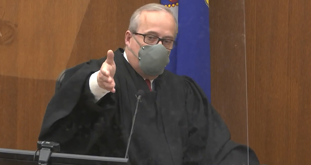 In this image from video, Hennepin County Judge Peter Cahill presides over jury selection in the trial of former Minneapolis police officer Derek Chauvin in the May 25, 2020, death of George Floyd. (Court TV via AP, Pool)