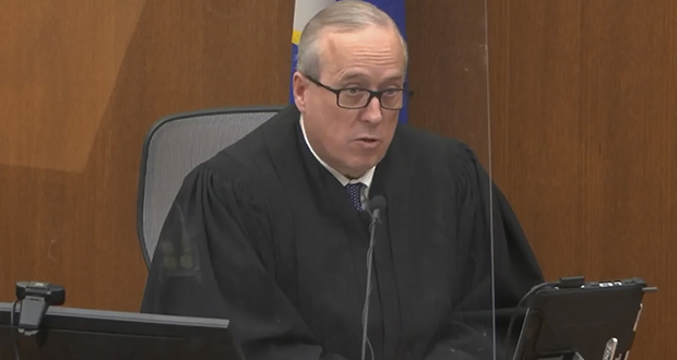 Judge Peter Cahill, shown during proceedings Tuesday, had earlier rejected the third-degree murder charge as not warranted by the circumstances of George Floyd's death, but an appellate court ruling in an unrelated case established new grounds for it. (Court TV via AP, pool)
