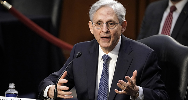Merrick Garland answers questions as he appears Feb. 22 before the Senate Judiciary Committee for his confirmation hearing to become attorney general. (AP photo: J. Scott Applewhite)