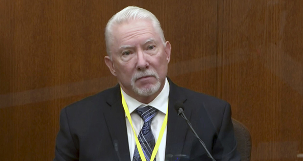 In this image from video, Barry Brodd, a use-of-force expert, testifies Tuesday, April 13,  in the trial of former Minneapolis police officer Derek Chauvin at the Hennepin County Courthouse in Minneapolis. (Court TV via AP, Pool)