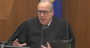 In this image from video, Hennepin County Judge Peter Cahill discusses motions before the court Wednesday, April 14, in the trial of former Minneapolis police officer Derek Chauvin at the Hennepin County Courthouse in Minneapolis. Chauvin is charged in the May 25, 2020 death of George Floyd. (Court TV via AP, Pool)
