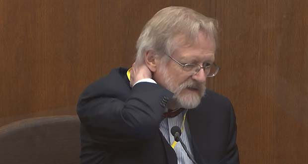 In this image from video, Dr. Martin Tobin testifies Thursday, April 8, in the trial of former Minneapolis police officer Derek Chauvin at the Hennepin County Courthouse in Minneapolis. (Court TV via AP, Pool)