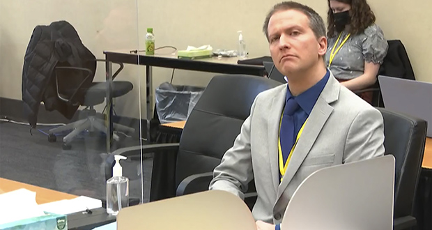 In this image from video, former Minneapolis police officer Derek Chauvin listens as his defense attorney, Eric Nelson, gives closing arguments as Hennepin County Judge Peter Cahill presides Monday, April 19, 2021, in Chauvin's trial at the Hennepin County Courthouse in Minneapolis. (Court TV via AP, Pool)