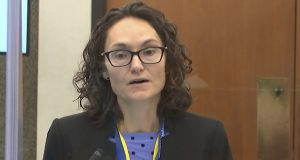 In this image from video, prosecutor Erin Eldridge questions a witness March 30 in the trial of former Minneapolis police officer Derek Chauvin. (Court TV via AP, pool)