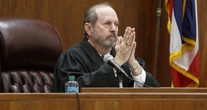 Senior Hinds County Circuit Judge L. Breland Hilburn, is photographed June 12, 2015, presiding at a trial in Pascagoula, Mississippi. (Tim Isbell/The Sun Herald, via AP)
