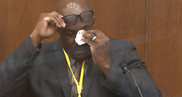 In this image from video, Philonise Floyd, brother of George Floyd, becomes emotional as he testifies Monday, April 12, in the trial of former Minneapolis police officer Derek Chauvin at the Hennepin County Courthouse in Minneapolis. (Court TV via AP, Pool)