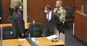 In this April 20 image from video, former Minneapolis police officer Derek Chauvin, center, is taken into custody as his attorney, Eric Nelson, left, looks on after the verdicts were read at Chauvin's trial for the 2020 death of George Floyd. (Court TV via AP, Pool, File)