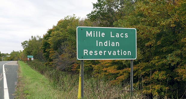 Mille Lacs Indian Reservation road sign