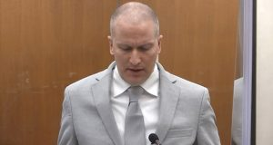 In this image taken from video, former Minneapolis police officer Derek Chauvin addresses the court as Hennepin County Judge PeterCahill presides over Chauvin's sentencing in the death of George Floyd. (Court TV via AP, Pool)