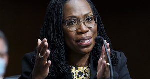 Judge Ketanji Brown Jackson, nominated to be a U.S. Circuit judge for the District of Columbia Circuit, testifies April 28 before a Senate Judiciary Committee on Capitol Hill in Washington. (Kevin Lamarque/Pool via AP)