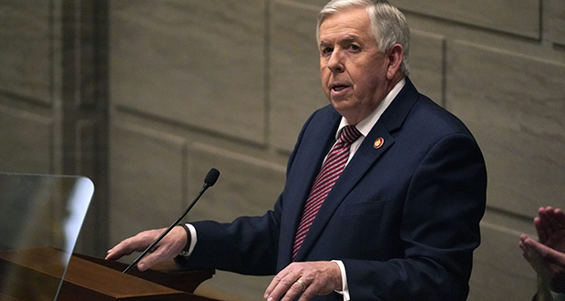 Missouri Gov. Mike Parson delivers the State of the State address Jan. 27 in Jefferson City. (AP file photo)