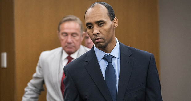 Former Minneapolis police officer Mohamed Noor walks to the podium to be sentenced June 7, 2019, at Hennepin County District Court in Minneapolis. (Star Tribune via AP, Pool, File)