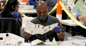 Election workers sort mail-in ballot