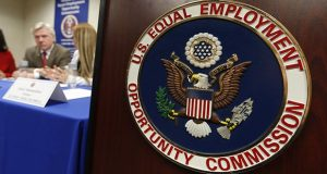 U.S. Equal Employment Opportunity Commission logo shown outside a meeting