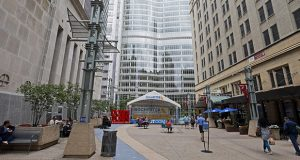 A pedestrian mall leads to the campus of the Mayo Clinic complex, center, in Rochester. (AP file photo: Jim Mone)