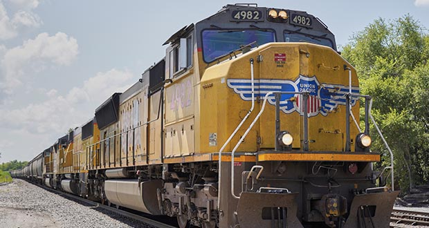 After the 7th U.S. Circuit Court of Appeals reinstated his lawsuit, railroad conductor Mark Mlsna was awarded more than $43 million by a Wisconsin jury who found Union Pacific failed to make reasonable accommodations for his hearing disability. This 2018 photo shows a Union Pacific train in Union, Nebraska. (AP file photo: Nati Harnik)