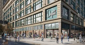 Work involved renovating the 1.2 million-square-foot building at 700 Nicollet Mall in Minneapolis to house retail and restaurant space on the lowest three floors and office space on eight floors, along with a library, gym and park. (Submitted rendering)