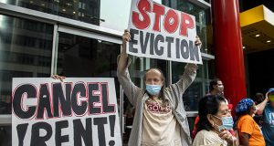 Housing advocates demonstrate for the eviction moratorium Aug. 4 in New York. The Supreme Court is allowing evictions to resume across the United States. (AP file photo)