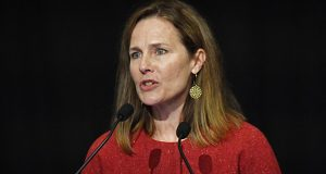 U.S. Supreme Court Associate Justice Amy Coney Barrett speaks to an audience at the 30th anniversary of the University of Louisville McConnell Center in Louisville, Kentucky, on Sunday. (AP photo: Timothy D. Easley)